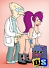 Horny old Futurama professor bangs Leela from behind in doggy style.