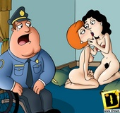 Naughty toon housewife Lois Griffin gets fucked by black dude while Peter
