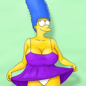 Toon xxx Marge in white panties dreaming about hot fuck with several c..