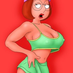 Cartoon fuck doll Meg Griffin usind a dildo while there is no real man..