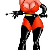 Cartoon busty hero Helen Parr takes two cocks in her mouth at the same
