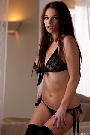 Busty ginger chick in black lace lingeri - XXX Dessert - Picture 11