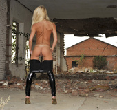 Hot skinny blonde in latex leggings and jumper captured cool boy to fuck