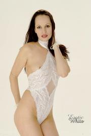 gorgeous brunette white lace