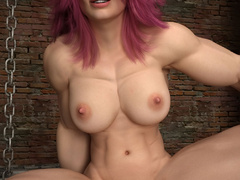 Awesome babe with pink hair and very huge muscles - Picture 5