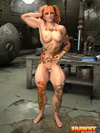 Crazy red pigtailed bitch with color tattooes and steel muscles posing