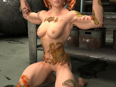 Crazy red pigtailed bitch with color tattooes and - Picture 7