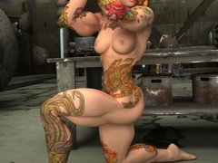 Crazy red pigtailed bitch with color tattooes and - Picture 9