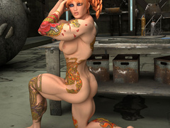 Crazy red pigtailed bitch with color tattooes and - Picture 10