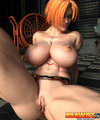 Busty red bitch naked in a belt only posing demonstrating her muscular