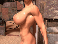 Nasty ginger bitch with huge boobs and muscular body - Picture 1