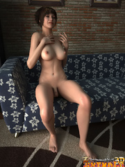 Swarthy blonde tranny with big jugs fondling her - Picture 2