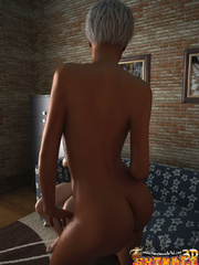 Swarthy blonde tranny with big jugs fondling her - Picture 4