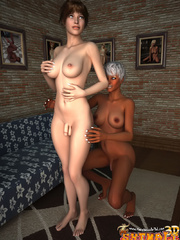 Swarthy blonde tranny with big jugs fondling her - Picture 8
