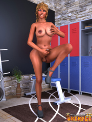 Ebony blonde tranny stroking her dick and fondling - Picture 2