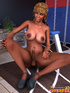 Ebony blonde tranny stroking her dick and fondling her 3d toon tits on