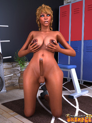 Ebony blonde tranny stroking her dick and fondling - Picture 8
