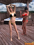 Two gorgeous shemales in bikini having an awesome fucking on the terrace