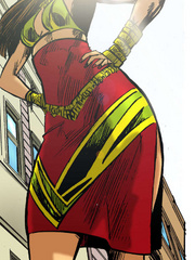 Wonderful cartoon giant babe in a nice red dress and - Picture 2