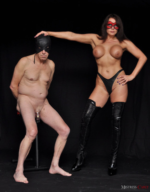 Busty long-haired mistress in a red mask - XXX Dessert - Picture 1
