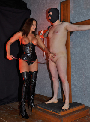 Gorgeous mistress in a black corset and  - XXX Dessert - Picture 6