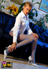 Dirty blonde mom in a white blouse teasing you with her wonderful legs