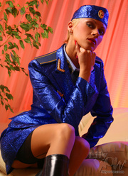 lustful stewardess blue shiny