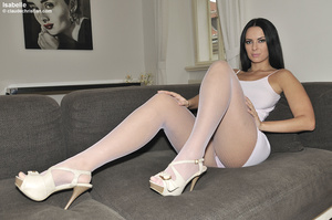 Dirty-minded brunette babe in white dres - XXX Dessert - Picture 1