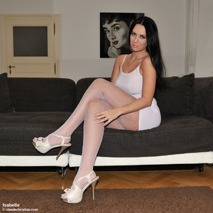 Hot brunette babe in a pink top and blac - XXX Dessert - Picture 4