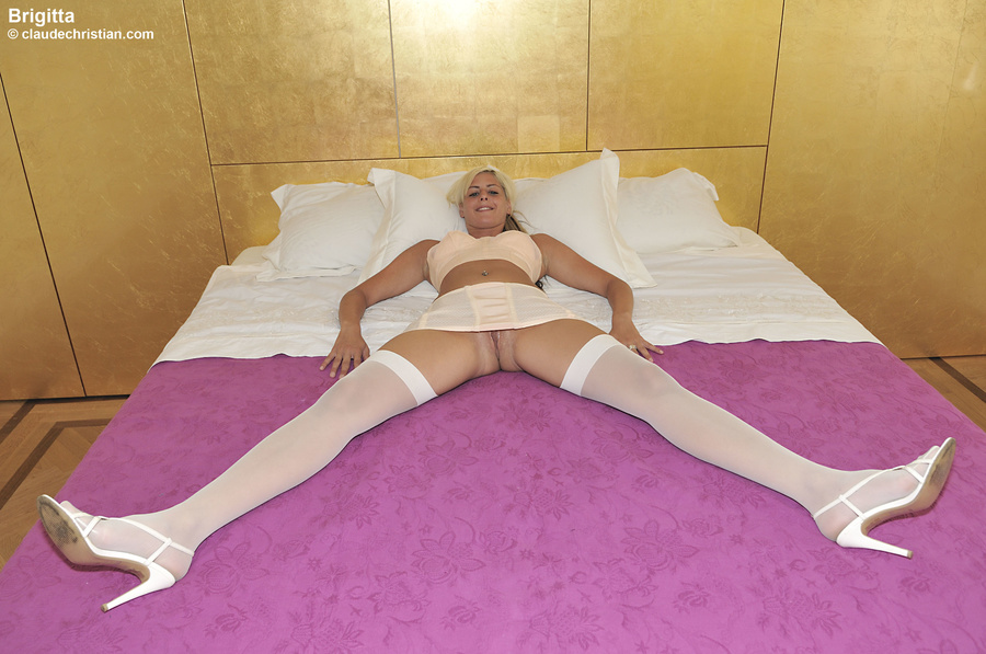 Nasty ponytailed blonde in white stockings  - XXX Dessert - Picture 1