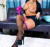Hot blonde bitch in nylon and purple lingerie takes it off to pose in