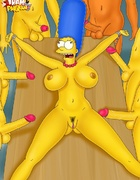 Marge Simpson gets roped to the table and waiting for cocks fucking her