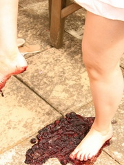Blonde chubby teen in a lovely dress pressing berries - Picture 8