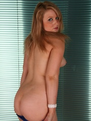 Blonde chubby teen in a blue dress takes it off to - Picture 6