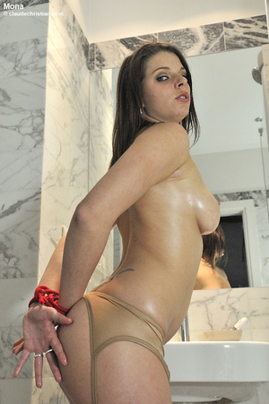 Busty brunette bitch tied up with red ro - XXX Dessert - Picture 3