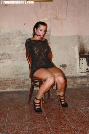 Hot ponytailed brunette in a lace dress  - XXX Dessert - Picture 2