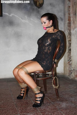 Hot ponytailed brunette in a lace dress  - XXX Dessert - Picture 4