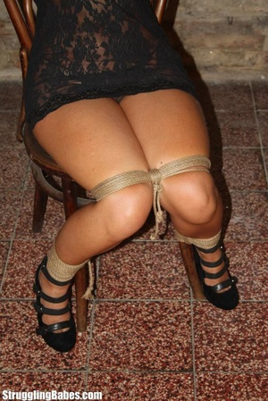Hot ponytailed brunette in a lace dress  - XXX Dessert - Picture 7