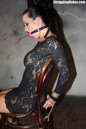Hot ponytailed brunette in a lace dress  - XXX Dessert - Picture 8
