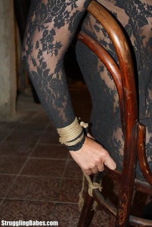 Hot ponytailed brunette in a lace dress  - XXX Dessert - Picture 10