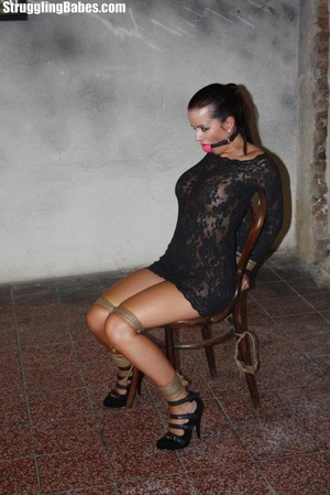 Hot ponytailed brunette in a lace dress  - XXX Dessert - Picture 12