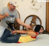 Gagballed brunette full dressed get bound and dropped facedown