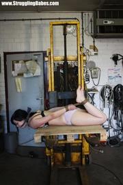 poor brunette girl tied