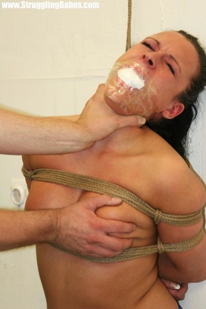 Ponytailed brunette in thong gets gagbal - XXX Dessert - Picture 9