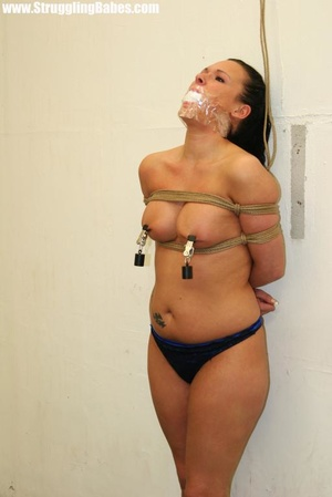 Ponytailed brunette in thong gets gagbal - XXX Dessert - Picture 11