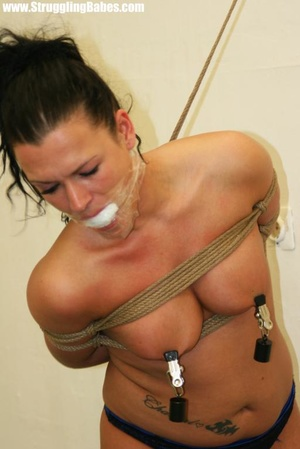 Ponytailed brunette in thong gets gagbal - XXX Dessert - Picture 12
