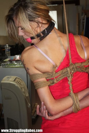 Hot blonde babe with a gagball tied up a - XXX Dessert - Picture 8
