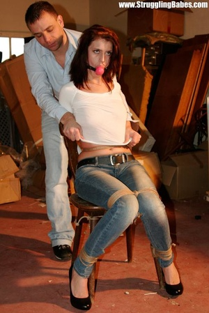 Hot red chick in jeans with a gag-ball g - XXX Dessert - Picture 3