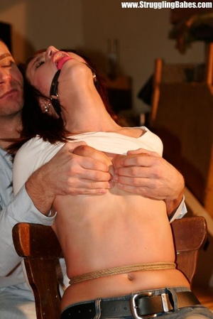 Hot red chick in jeans with a gag-ball g - XXX Dessert - Picture 5