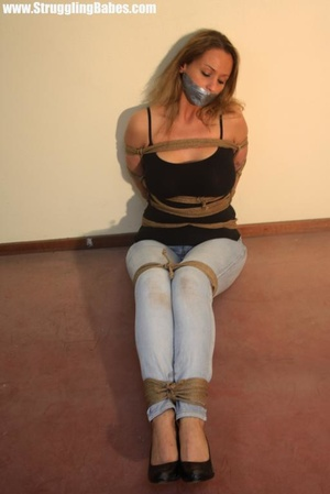 Gag taped blonde chick in jeans gets hog - XXX Dessert - Picture 2